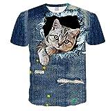 T-Shirt da Donna Estate 3D T-Shirt da Uomo gattile Bella Stampa Tempo Libero O-Collo Maniche Corte t-Shirt da Uomo Tee -XL