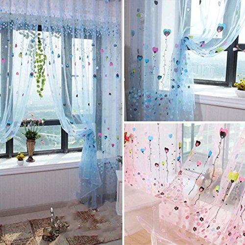 LLQ Floral Fenster Spitzeneinsätzen Drapes Vorhänge Sheer Voile Tüll Raum Volants Vorhänge Bildschirm, Polyester, blau, 100*200cm (Fenster Volant Blau)