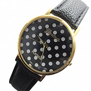 Fashion Base Hot New Dotting Big Dial Black Leather Band Women Lady Watch High Quality Quartz Watches
