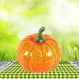 Halloween Kürbisse Deko, 16 Stücke Orange Künstliche Zierkürbisse Herbst Tischdeko für Halloween Haus Dekor - 7