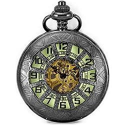 Alienwork Retro Handaufzug mechanische Taschenuhr Skelett Uhr grün schwarz Metall WDG005-02