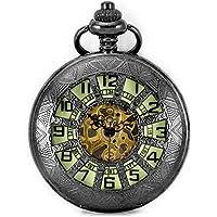 Alienwork Retro orologio da tasca meccanico Scheletro carica manuale Metallo verde nero WDG005-02