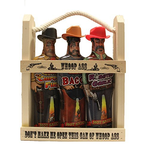 Preisvergleich Produktbild Whoop Ass Hot Sauce Gift Set - In a Wooden Crate! All three Whoop Ass Hot Sauce Cowboys are packed into the local saloon and they're packin' heat. Watch yourself,  pardner! Makes the perfect gift for any Hot Sauce connoisseur. by Whoop Ass