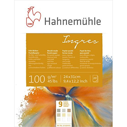 Ingresblock 9 Farben 100g/m², 24x31cm, 20Blatt (Antique White Paper)