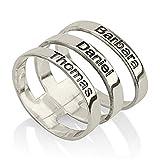 HACOOL 925 Sterling Silber Personaliszd stapelbar drei Schichten Ring für Familie Custom Made mit 3 Namen (Silber)