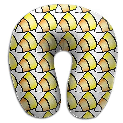 Rghkjlp Halloween Patterns Corn Candy Memory Foam U-Shaped Pillow,Fashion Travel Rest Pillow for Neck Pain,Breathable Soft Comfortable Adjustable