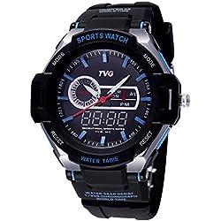 TVG Luminous Mens Womens Watch with Alarm Week Quartz Digital Movement (Blue)