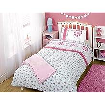 Floral flores individual rosa mezcla de algodón botones de lunares, azul 5piezas Juego de ropa de cama