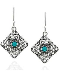 925plata de ley y turquesa filigrana Pendientes Colgantes en Forma de diamante único de la mujer joyería