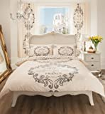 Gaveno Cavalia Poly Cotton MODERN PRINTED STYLISH DUVET SET WITH DUVET COVER AND PILLOW CASE SCRIPT PARIS Cream Double