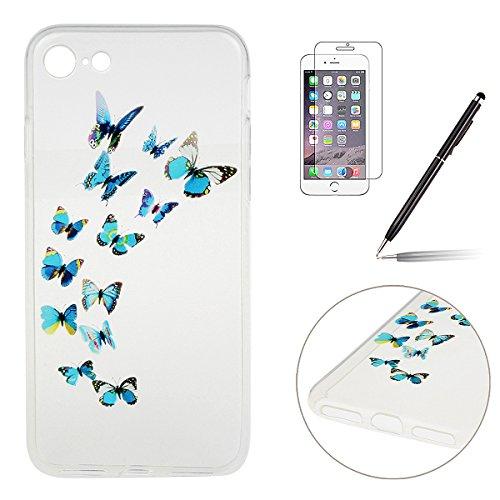 iPhone 7 Hülle,iPhone 7 Silikon Case,iPhone 7 Cover - Felfy Ultra Dünne Weicher Slim Gel Flexible Soft TPU Silikon Hülle Schutzhülle Silikon Hülle Blumen Muster Farbmalerei Beschützer Hülle Handy Durc Schmetterling