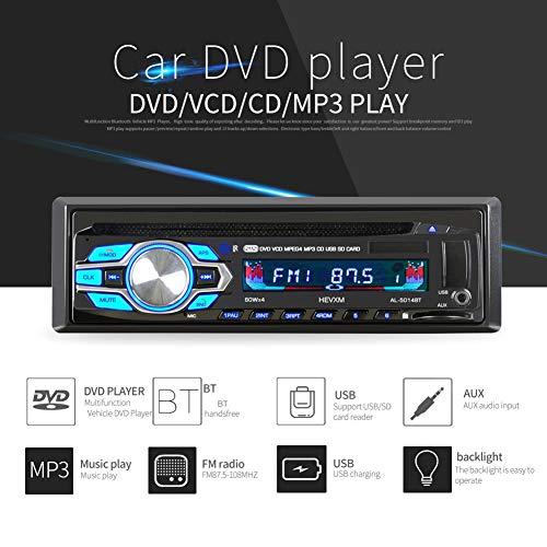 YUSHHO56T Autoradio Player für Auto Intelligentes System Mediaplayer HEVXM 5014BT Single DIN 12 V Auto DVD CD Player Fernbedienung MP3 BT Audio Radio (Cd Y Dvd Für Auto)