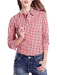 StyleDome Blusa Camisa Casual Elegante Oficina Algodón a Cuadros Cuello Clásico Mangas ...