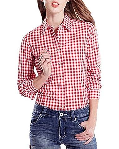 StyleDome Women's Scottish Plaid Shirt Long Sleeve Laple Button Down