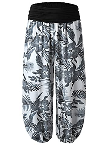 BAISHENGGT Women's Floral Printed Ruched Elastic Waistband Harem Pants Grey Floral Large