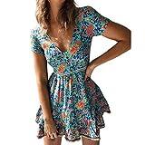 YWLINK Damen Blumendrucke Kurze ÄRmel Tunika T-Shirt Tops Mit Taste V-Ausschnitt Mini Kleid Abend Partykleid(A Blau,S)