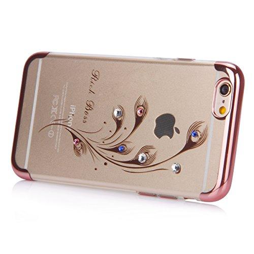 iPhone 6S Plus Hülle,iPhone 6 Plus Hülle,SainCat Glitzer Silikon Schutz HandyHülle für iPhone 6 Plus/6S Plus Silikon Hülle Gold Muster Tasche Handyhülle Bling Glänzend Glitzer Strass Kristall Diamant  Rose Gold-Pfauenfedern