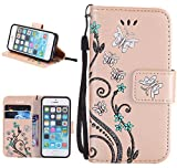 Roreikes Apple iphone 5S 5 SE H�lle, Slim Retro Schmetterling und Blume PU Leder Bookstyle Handyh�lle Tasche Flip Wallet Case mit Strap Portable Handytasche Anti-Scratch Shell Cash Pouch ID Card Slot Magnetverschluss Etui Soft Silikon Back Cover Folio Schale Schutzh�llen f�r Apple iphone 5S 5 SE - Golden Bild