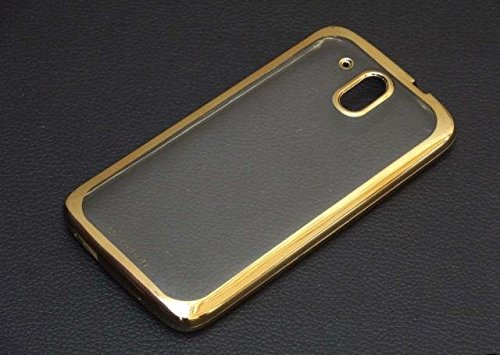 TECHNO TRENDZ (TM) New Luxury Perfect Fitting Electroplated Edge Gold Frame Border Bumper Plating High Quality Original TPU Soft Ultra Thin Transparent Silicone Crystal Clear TPU Flexible Back Case Cover Corner Protection for HTC Desire 526G + Dual sim , HTC 526 G Plus , HTC Desire 326G dual sim (Golden Edges)