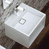 Wandwaschbecken Waschbecken BS453 aus Mineralguss mit Ablagefach - Weiß - 45 x 40 x 30cm