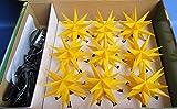 3D LED 9er Sternenkette für innen & außen Stern Adventsstern Außenstern Weihnachtsstern Neuheit 2017 (gelb)