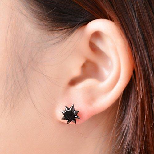 HOUSWEETY 1 Paire Boucles d'oreilles / Clous d'Oreilles en Acier inoxydable Sunflowers avec Poussette Embout Style Hip-hop noir 11x11mm