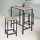 SoBuy OGT10-N Bartisch Set 3-teilig Stehtisch Bistrotisch mit 2 Stühlen