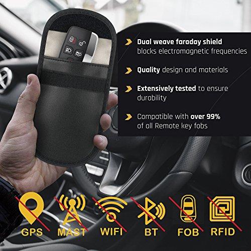 2 x Car Key Signal Blocking Pouch by Cloakmate | Faraday Bag Protector for Keyless Fobs | RFID Blocker for Car Keys