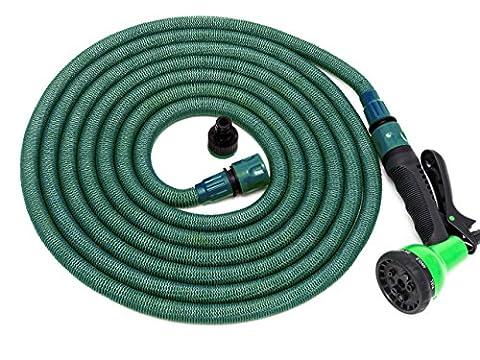 Flexibler Gartenschlauch mit ergonomischer Multifunktions Gartenbrause | inkl. Adapter & Handbrause mit 8 Spritzfunktionen | dehnbarer