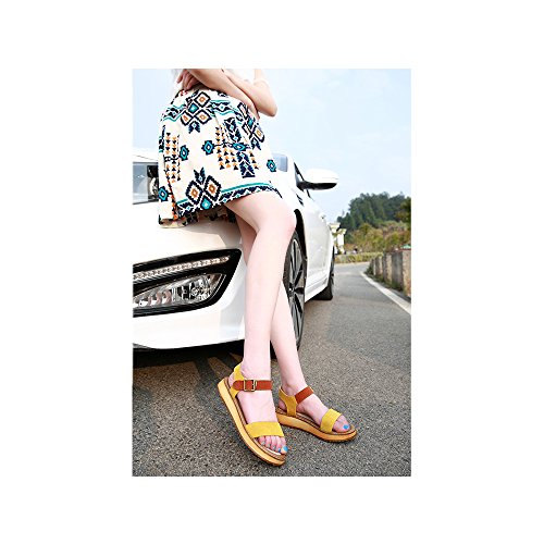 Scarpe da donna, sandali casual peep-toe con fibbia bassi alla romana Giallo (giallo)