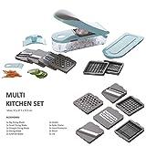 UMOI 12 TLG. Multi Kitchen Schneider Dicer zum Schneiden | Reiben | Julienne | Spiralen | Hobeln | Würfeln | Obst- und Gemüseschneider | Bekannt aus YouTube | TOP QUALITÄT