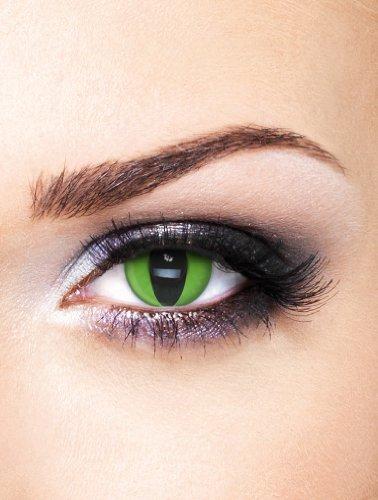 Edit farbige grüne Kobra / Schlangenaugen Kontaktlinsen ohne Stärke für Halloween und Karneval