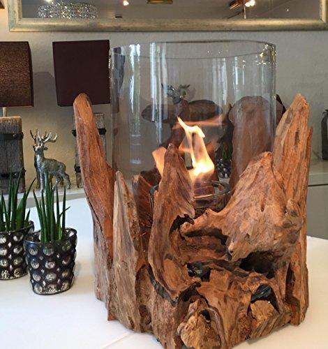 ANTARRIS Tischfeuer Glasfeuer Feuerstelle Wood Indoor & Outdoor aus Wurzelholz Bioethanol