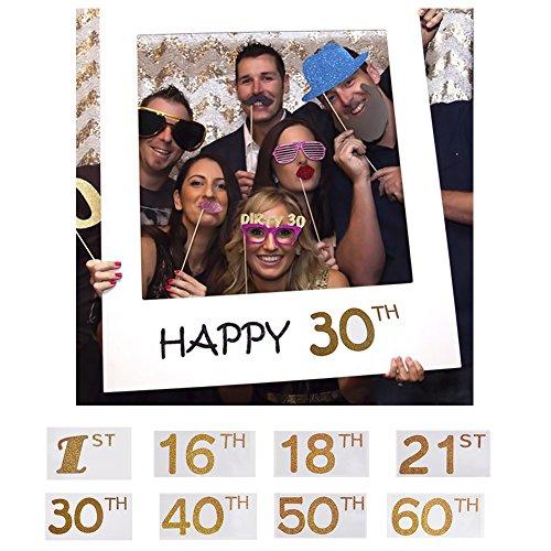 Sue Supply DIY-Bilderrahmen mit Aufschrift (in englischer Sprache) Happy 1st 16th 18th 21st 30th 40th 50th 60th, Papier-Bilderrahmen, Fotoautomat-Requisiten für Geburtstag, Party, als Dekoration