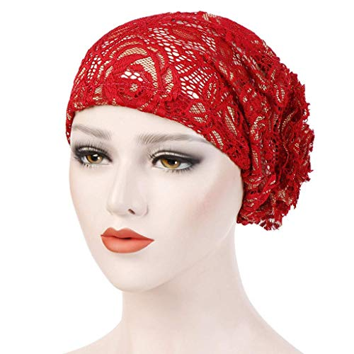 Vanvo Women Lace Floral Muslim Ruffle Cancer Chemo Hat Beanie Turban Head Wrap Cap (Red) (Tree Topper Bow)