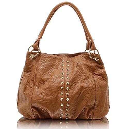 100ea012e9c0b Jennifer Jones 3979 Handtasche Damen Shopper Damentasche Henkeltasche  Schultertasche Tasche Nieten Cognac