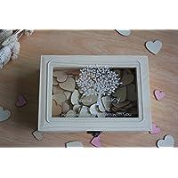 Caja de madera para recuerdos de boda rústico de deseo, caja libro de invitados para boda de corazón personalizado para regalos de boda para parejas