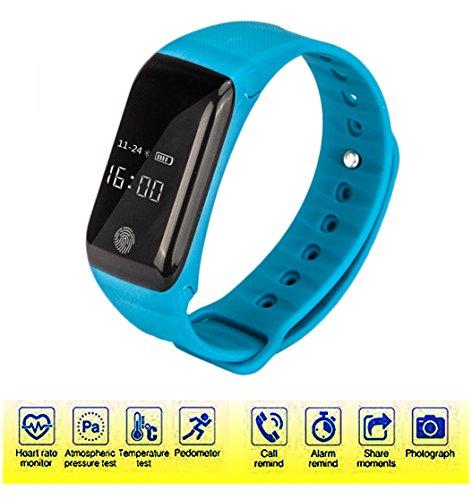 Dax-Hub 【ROGUCI ®】i6 intelligente Bluetooth 4.0 Bracciale Progettato con con Cardiofrequenzimetro, Termometro, Altimetro Sports Wristband, Bluetooth controller Musica, Sleep Monitor, inseguitore di fitness, pedometro monitoraggio Calorie salute compatibile con Android 4,3 /4.4 /4.5 /5.0 /5.1 /6.0,/6.1; IOS 7.0 8.0 8.1.9.10 iphone 4s / 5s / 6 / 6S / 7 / 7plus Smartphone - 5 Funzione Computer Biciclette