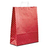 50 x HUTNER Papiertüten weiss, Motiv: Punkte 32+12x40 cm | stabile Papiertragetaschen mit Flachhenkel | Papiertaschen Mittel
