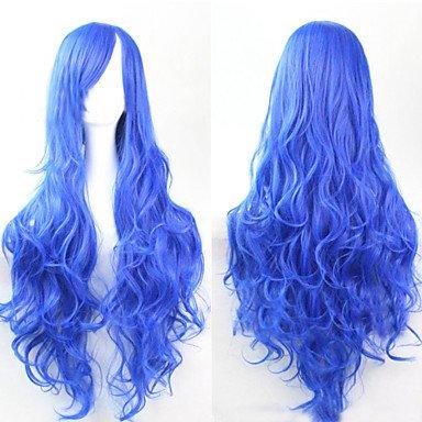 HJL-cosplay mode bleu must-have fille de haute qualit¨¦ perruque de longs cheveux boucl¨¦s , blue