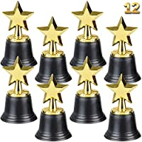 ‏‪Star Trophy Awards - Pack of 12 Bulk - 4.5 Inch, Gold Award Trophies for Kids Party Favors, Props, Rewards, Winning Prizes, Competitions for Kids and Adults by Bedwina‬‏