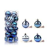 24 Stück Weihnachtskugeln Glänzend Glitzernd Matt Christbaumkugeln Weihnachten Baumschmuck Blau