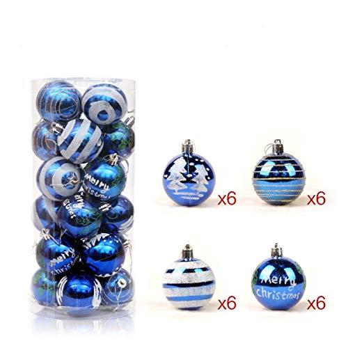 Christbaumkugeln Blau.24 Stück Weihnachtskugeln Glänzend Glitzernd Matt Christbaumkugeln