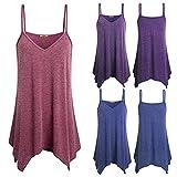 Hybreace Women Sling Tops Solid Color V Neck Bodycon Irregular Hem T-Shirt Vest for Summer