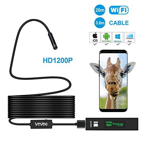 WOWGO Drahtloses Endoskop, Wifi Endoskop Inspektionskamera IP 68 Wasserdichte Snake Kamera mit 8 Einstellbare LED 3.5M Kabel 1200P HD Bild für Android & IOS Smartphone, iPhone