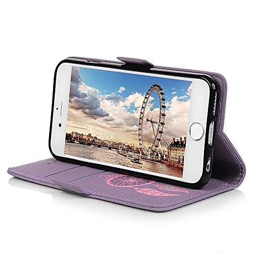 Mavis's Diary Coque iPhone 6 / iPhone 6S Étui Housse de Protection PU Cuir + TPU Silicone Antichoc Attrape Rêve Bookstyle Coque en Cuir Case à Rabat Portefeuille Carte Slot + Chiffon - Bleu Violet