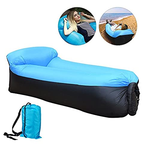 Top-Max Beach Chaise longue de bain pour canapé Canapé lit de couchage gonflable remplis d'air Camping Voyage randonnée Intérieur Chambre à coucher Backyard (Noir +