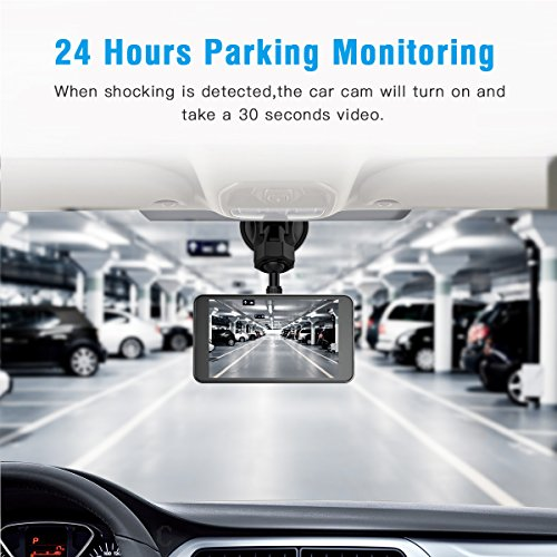 Jeemak Dual Lens Dash Cam Front and Rear 1080P Dashboard Camera Waterproof  Backup Camera 4 inches IPS LCD in Car Vehicle Driving DVR Recorder G-Sensor