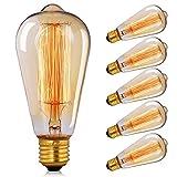 Edison Vintage Glühbirne, CMYK Edison Glühbirne E27 40W Warmweiß Dimmbar Retro Glühbirne Vintage Antike Lampe Ideal für Nostalgie und Retro Beleuchtung im Haus Café Bar usw--6 Stück
