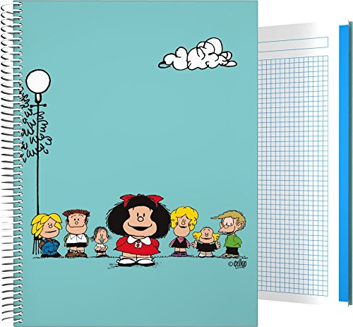 Grafoplás 16501947-Cuaderno Tapa Dura A4, Diseño Mafalda Amigos, 140 hojas cuadriculadas